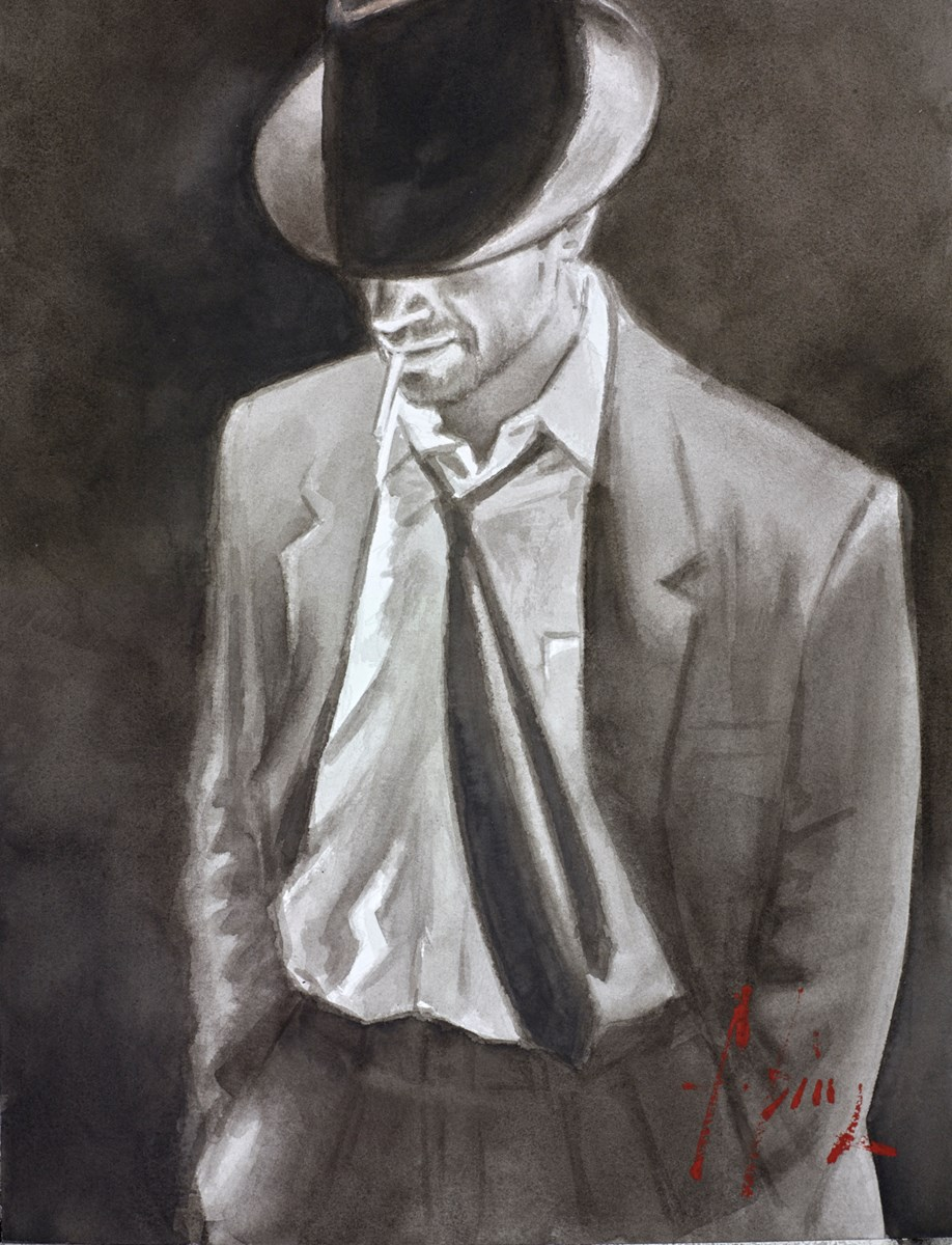 Man in White Suit IV (Ink) by fabian perez -  sized 12x16 inches. Available from Whitewall Galleries